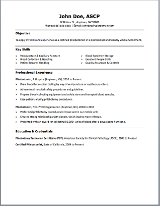 sample phlebotomist resumes